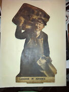 Antique Railway Advertising Picture Luggage In Advance On Board 14ins Harrods