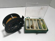 Graphite Pflueger Summit 1294 Fly Reel W/backing And Leader And Flies Spoon Jig