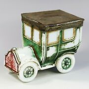 Collectible Antique French Portieux Opaline Opaque Glass Car Box Trinket Jewelry
