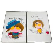 Vintage Greeting Card Art Lot Of 2 Girl Birthday Drawing Signed Artist 12 X 8