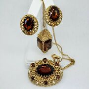 Designer W. Germany Victorian Revival Antiqued Gold And Whiskey Rhinestone...