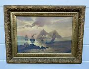 Antique 1884 Blanch M Williams Maritime Ships Sidewheeler Seascape Oil Painting