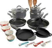 The Pioneer Woman Frontier Speckle Gray 24-piece Cookware Combo Set Durable New