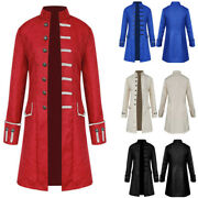 Men Halloween Steampunk Retro Trench Coat Gothic Jacket Medieval Costume Outwear