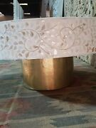 Bone Inlay Indian Solid Wood Round Coffee Table Floral Patt Made To Order