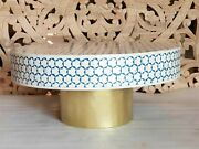 Indian Real Bone Inlay Round Handmade Coffee Table White And Blue Made To Order