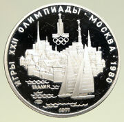 1977 Moscow 1980 Russia Olympics Sailing Tallinn Proof Silver 5 Rubl Coin I94942