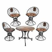 Wooden And Iron Carved Decorative Folding Table With 4 Chair Set Furniture Decor