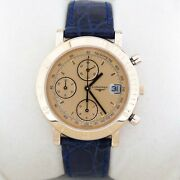 Longines Chronograph Chiffres / Date 18k Or Automatique 39mm Ref 1301.32 Rose