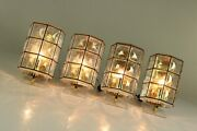 Set Of 4 Limburg Wall Lights Iron And Glass Design Mid Century 1960and039s Lamps