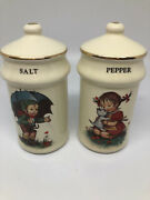 Vintage Salt And Pepper Shaker Hummel Boy And Girl 4 Inches Tall.