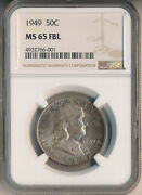 1949 Franklin Silver Half Dollar Ngc Certified Ms 65 Fbl Free Shipping