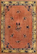 Antique Vegetable Dye Art Deco Nichols Chinese Area Rug Wool Hand-knotted 9and039x12and039