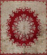 Vintage Vegetable Dye Kirman Red Area Rug Hand-knotted Oriental 10and039x10and039 Square