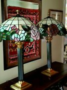 Vintage Floral Stained Glass Style Brass Corinthian Column Lamps 29