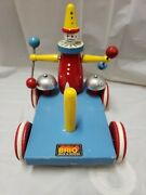Vintage Brio Animated Clown Wagon Pull Toy Pingel Pelle Made In Sweden