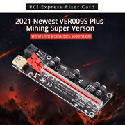 Ver009s Plus Pci-e Riser Card Pcie 8 Capacitors Leds 1 To 16 Usb 3.0 Cable Gold