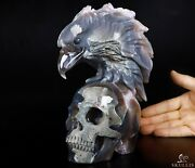 Huge 8.3 Amethyst And Agate Geode Carved Crystal Skull And Eagle Head Sculpture484