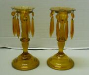 Vintage Amber Glass Lusters Pair With Cut Prisms And Flower Wax Guard Set Of 2
