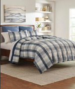 Nautica King Comforter Portsmouth 3 Piece Set Gray Beige Plaid Micro Suede Easy