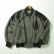 I.s. Issey Miyake 80and039s Sports Vintage Leather Patches Tweed Bomber Jacket Mens