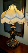 Brass 3 Graces Figurative Nouveau Mid Century Goddess Lamp And Victorian Shade