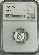 1964 Ngc Pf66 90 Silver Roosevelt Dime 10c Great Eye Appeal Uncirculated