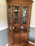 S. Bent And Bros Solid Oak Corner Hutch Mint Condition