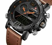Mens Watches Leather Band Alloy Case Waterproof Sports Quartz Led Digital Timer