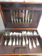 Dominick And Haff Pointed Antique Sterling Silver Flatware Set For 8 Plus Servers