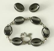 Whiting Davis Jewelry Silver Tone Mirror Finish Hematite Link And Clip Earring Set