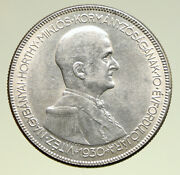 1930 Hungary Admiral Miklos Horthy Antique Silver 5 Pengo Hungarian Coin I94980
