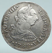 1782 Mexico Under Spain King Charles Iii Silver Antique 2 Reales Old Coin I89363