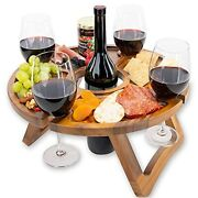 Portable Wine Table - Keeps Wine Glasses And Bottle In Place - Outdoor Wine Table