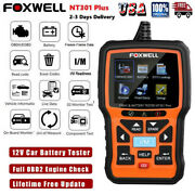 Foxwell Nt301 Plus Engine Obd2 Scanner Diagnostic Code Reader And Battery Tester