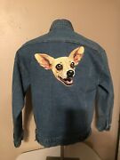 Vintage Rare 90s Quiero Taco Bell Chihuahua Denim Embroidery Jacket Menandrsquos Med