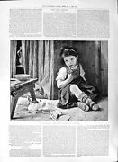 Antique Old Print 1891 Young Child Rostel Picture First Sundew Grant Allen 19th