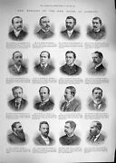 Old Antique Print 1892 Members Commons Kenny Smith Palmer Sinclair Allen 19th