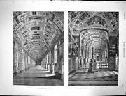 Old Antique Print 1878 Apartments Vatican Gallery Maps Library Rome Italy 19th