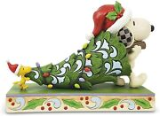 Enesco Peanuts By Jim Shore Snoopy And Woodstock Carrying A Christmas Tree Figur