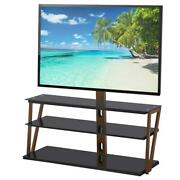 3 Shelves Floor Tv Stand With Swivel Mount For 32 37 40 46 47 50 55 60 65 Tvs