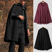 Mens Gothic Hippie Cape Steampunk Loose Poncho Coat Jacket Cloaks Overcoats Tops