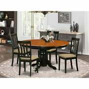 Dining Set With Oval Table And Antique Dining Chairs - Black