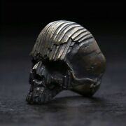 Cool Menand039s Ring With Black Skull Petrified Wood 316l Stainless Steel Rings Biker
