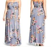 City Chic 'graphic Floral' Strapless Maxi Dress Sz 18/m Grey Long New