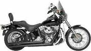 Black Long Exhaust Pipes Harley Softail Heritage Fatboy Chopper Rush Perform