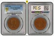 1955m Australia 1 Penny Pcgs Ms62bn Bu Unciculated Toned Coin With Luster