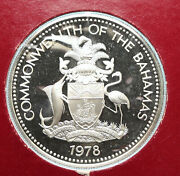 1978 The Bahamas Islands Two Flamingos Vintage Proof Silver 2 Dollar Coin I95775