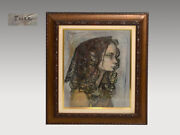 Ryuichi Terashima Oil Painting Profile With Sign Framed F8 Size Endorsements