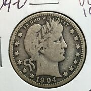 1904-o Vg-fine Barber Quarter  Lity And Part Of B,e And R   Tough Date